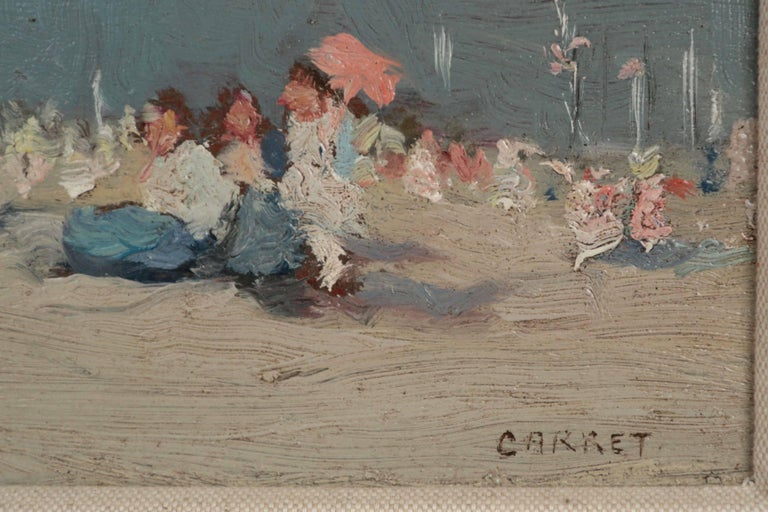 20th Century Jaime E. Carret American, 1878-1941 'Beach Scene' Painting in Oil on Panel For Sale
