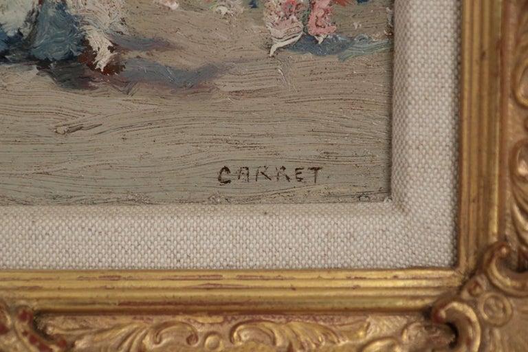 Jaime E. Carret American, 1878-1941 'Beach Scene' Painting in Oil on Panel For Sale 1