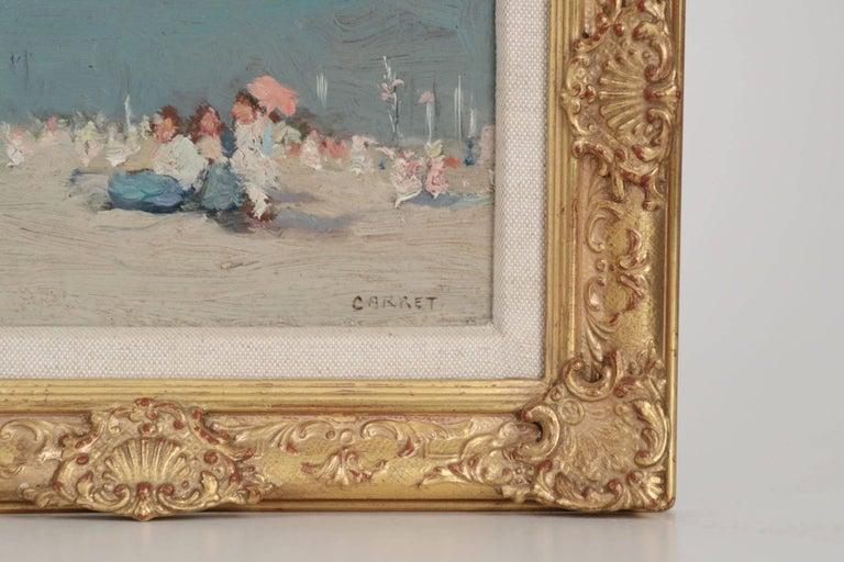 Jaime E. Carret American, 1878-1941 'Beach Scene' Painting in Oil on Panel For Sale 2