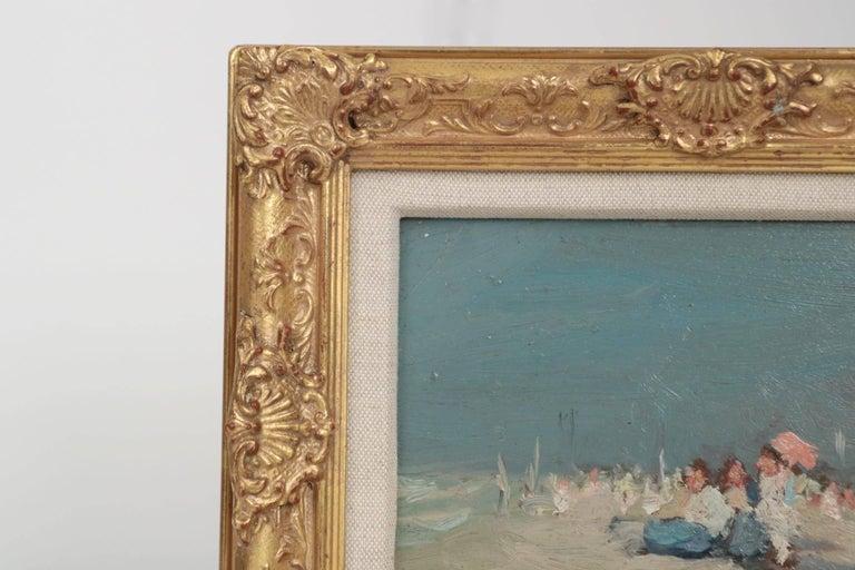 Jaime E. Carret American, 1878-1941 'Beach Scene' Painting in Oil on Panel For Sale 3