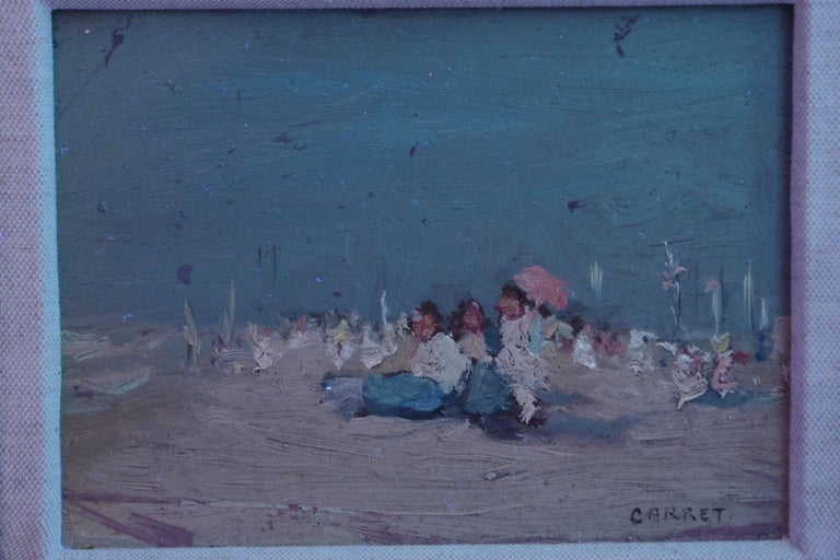Jaime E. Carret American, 1878-1941 'Beach Scene' Painting in Oil on Panel For Sale 5