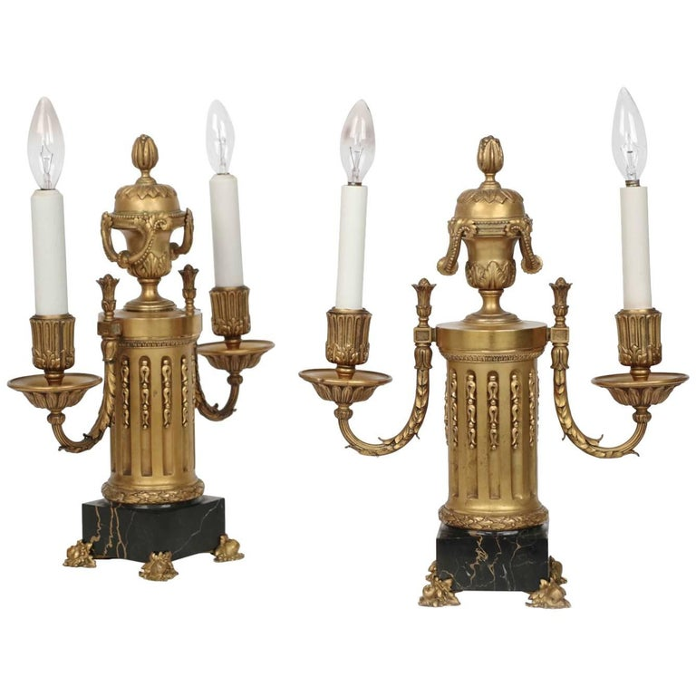 E.F. Caldwell American Two-Light Pair of Antique Candelabra Lamps, circa 1900 For Sale