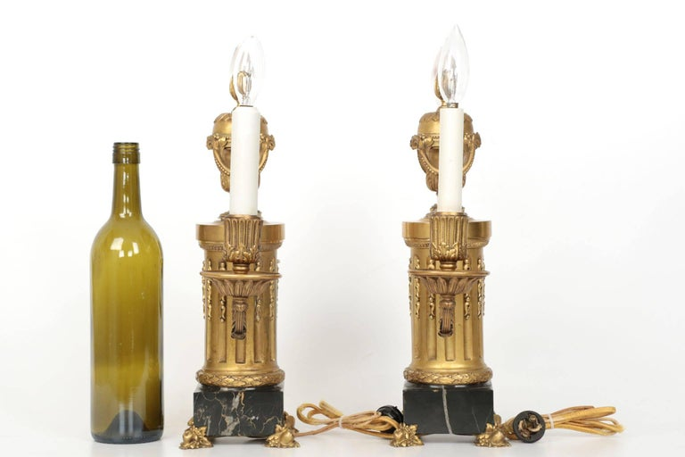 Louis XVI E.F. Caldwell American Two-Light Pair of Antique Candelabra Lamps, circa 1900 For Sale