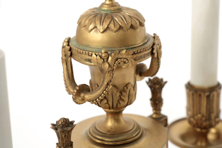 Gilt E.F. Caldwell American Two-Light Pair of Antique Candelabra Lamps, circa 1900 For Sale