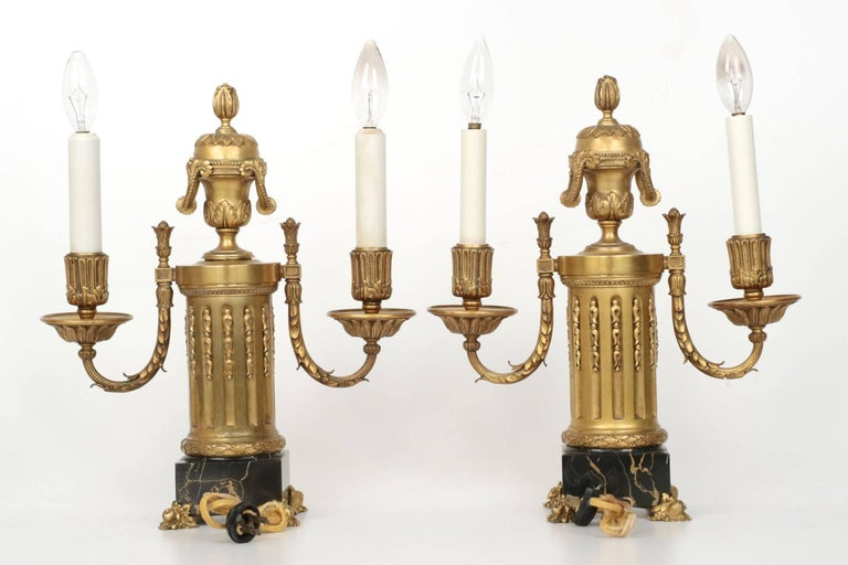 E.F. Caldwell American Two-Light Pair of Antique Candelabra Lamps, circa 1900 In Good Condition For Sale In Shippensburg, PA
