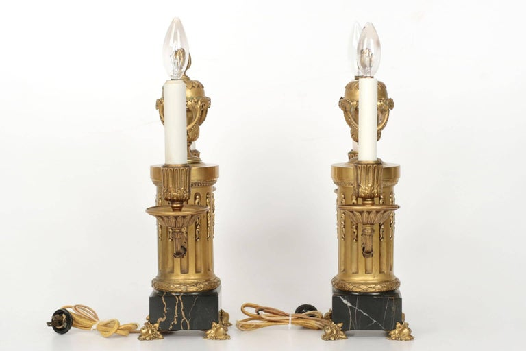 E.F. Caldwell American Two-Light Pair of Antique Candelabra Lamps, circa 1900 For Sale 2