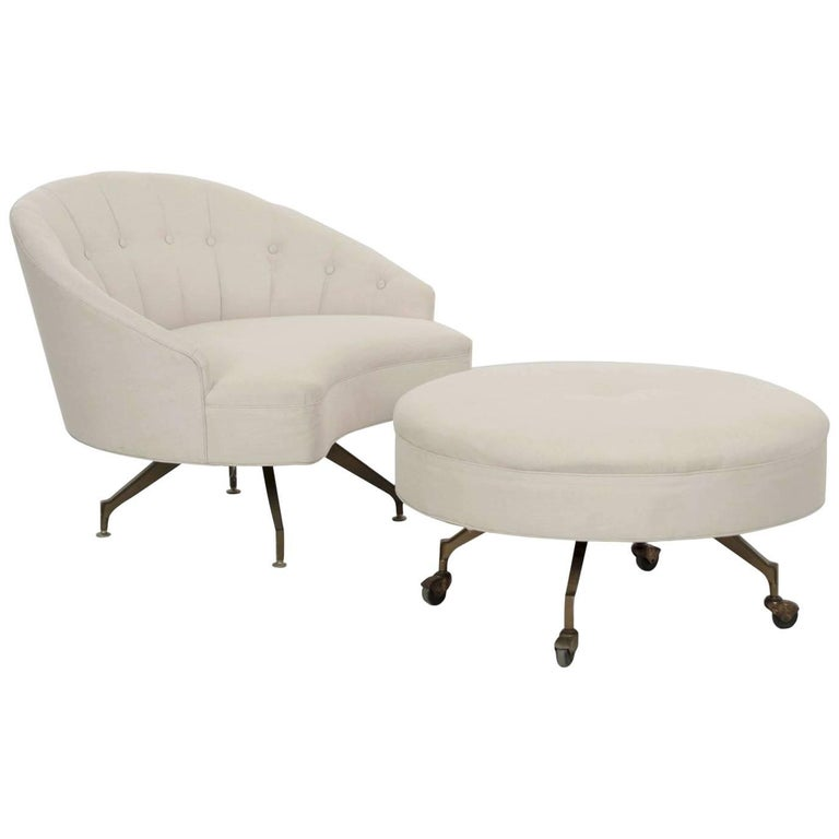 20th Century Tufted Linen Vintage Chaise Longue Chair with Ottoman For Sale