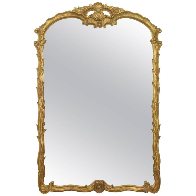20th Century Carved Giltwood Waterleaf Antique Pier Mirror For Sale