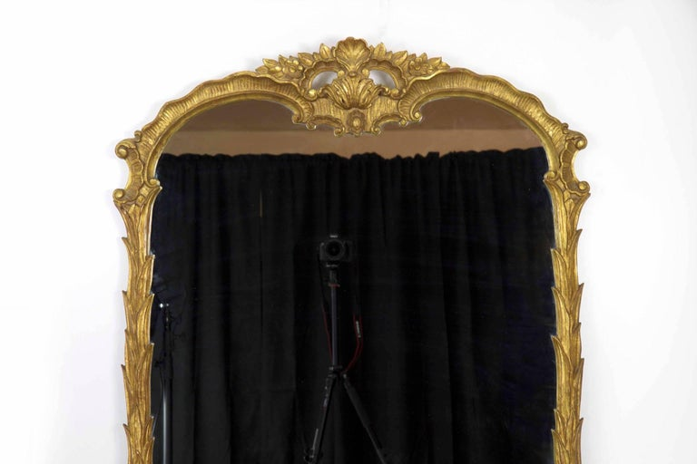 The refreshingly organic interpretation of the Rococo motif found in this finely crafted mirror is unusually striking. It has a degree of restraint where the undulating shape allows the chaotic display of waterleaves that furl and climb the frame to