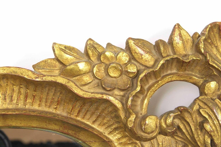 Pine 20th Century Carved Giltwood Waterleaf Antique Pier Mirror For Sale