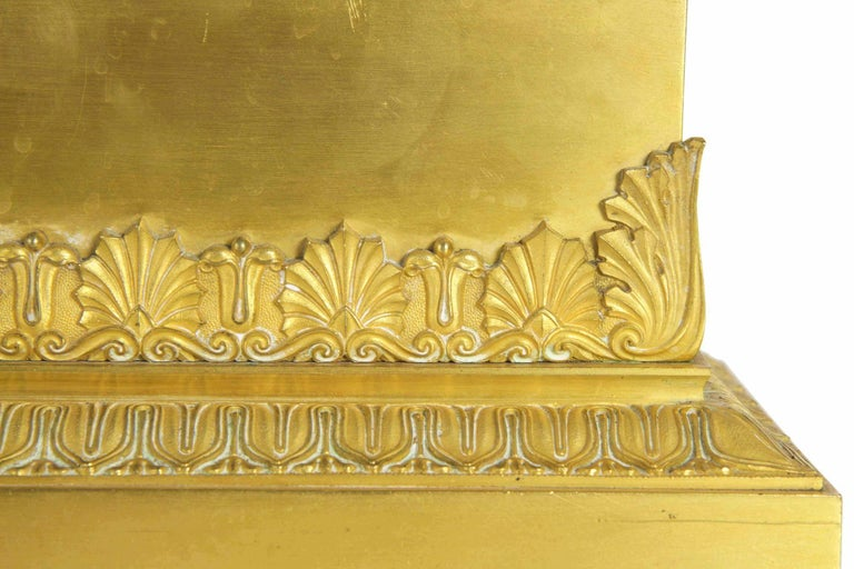 A finely cast piece executed in solid bronze that was perfectly chiselled, filed and chased into a crisp presentation, the small jardinière was then mercury gilded for a brilliant surface throughout. The powerful acanthus motifs squaring up each