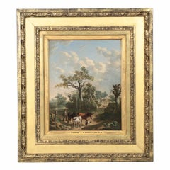 Antique 19th Century British School Oil Painting of Farmer and Animals