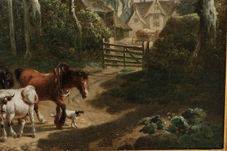 Antique 19th Century British School Oil Painting of Farmer and Animals For Sale 2