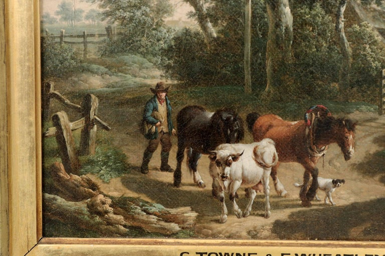 Antique 19th Century British School Oil Painting of Farmer and Animals For Sale 3