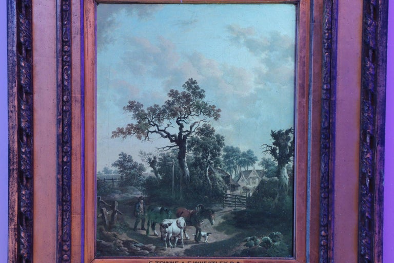 Antique 19th Century British School Oil Painting of Farmer and Animals For Sale 5