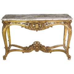 Antique French Louis XV Style Marble Top & Giltwood Console Center Table c. 1870