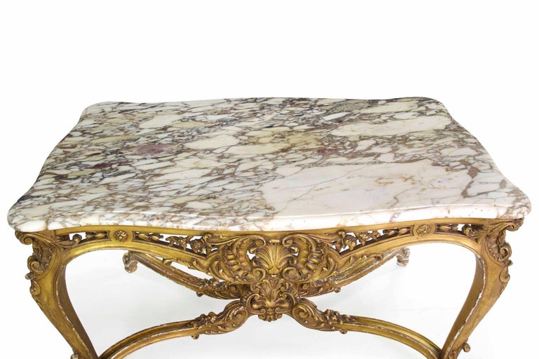 Antique French Louis XV Style Marble Top & Giltwood Console Center Table c. 1870 For Sale 1
