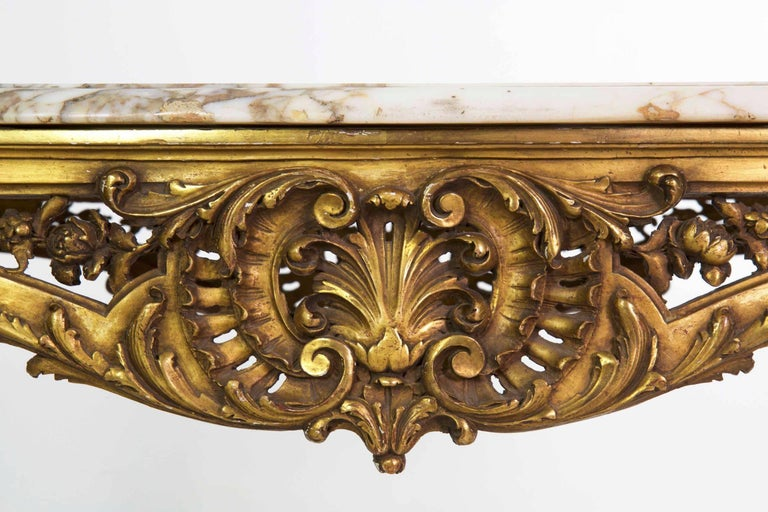Antique French Louis XV Style Marble Top & Giltwood Console Center Table c. 1870 For Sale 2