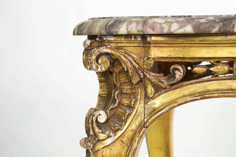 Antique French Louis XV Style Marble Top & Giltwood Console Center Table c. 1870 For Sale 3