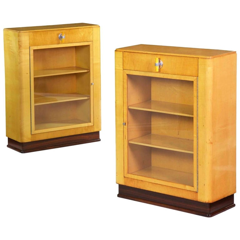 Art Deco Pair of Birch and Rosewood Bookcase Cabinets, circa 1930 For Sale
