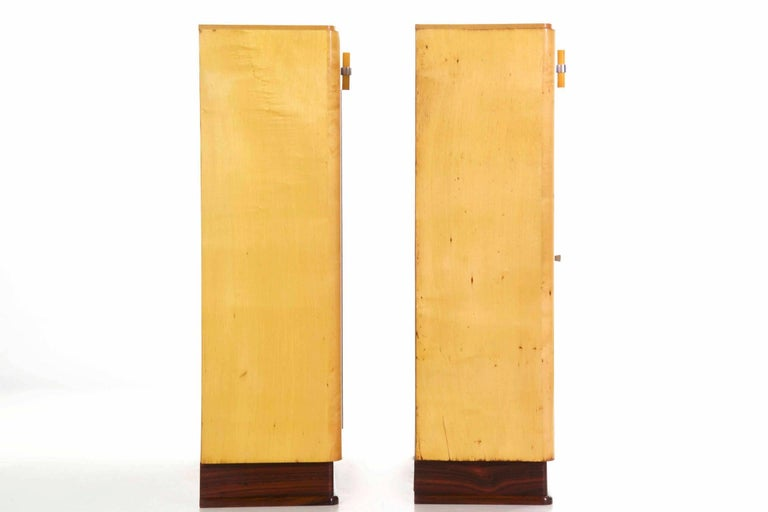 Mid-20th Century Art Deco Pair of Birch and Rosewood Bookcase Cabinets, circa 1930 For Sale