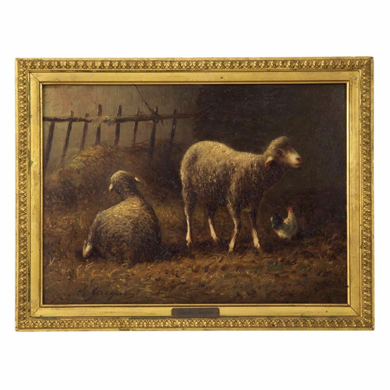 Charles Emile Jacque French Barbizon Antique Oil Painting of Sheep in Barn For Sale