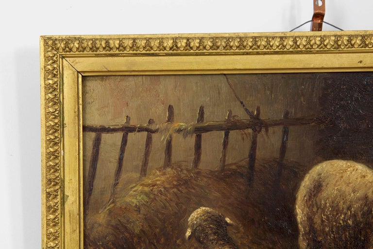 Barbizon School Charles Emile Jacque French Barbizon Antique Oil Painting of Sheep in Barn For Sale