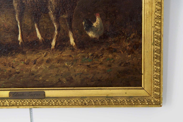 Oiled Charles Emile Jacque French Barbizon Antique Oil Painting of Sheep in Barn For Sale