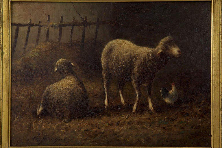 19th Century Charles Emile Jacque French Barbizon Antique Oil Painting of Sheep in Barn For Sale