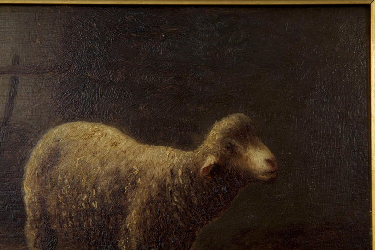 Charles Emile Jacque French Barbizon Antique Oil Painting of Sheep in Barn For Sale 1