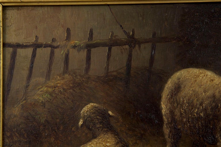 Charles Emile Jacque French Barbizon Antique Oil Painting of Sheep in Barn For Sale 2