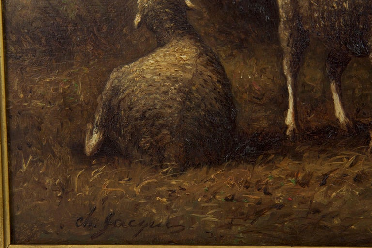Charles Emile Jacque French Barbizon Antique Oil Painting of Sheep in Barn For Sale 3