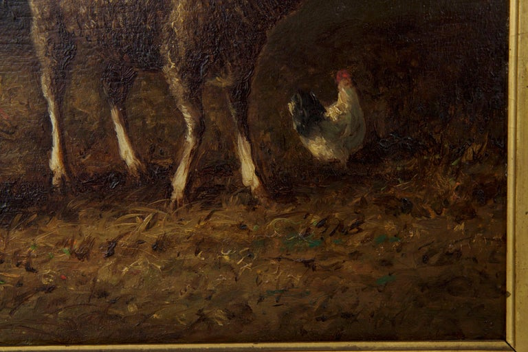 Charles Emile Jacque French Barbizon Antique Oil Painting of Sheep in Barn For Sale 4