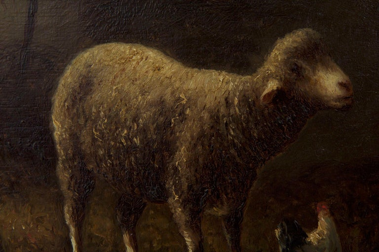 Charles Emile Jacque French Barbizon Antique Oil Painting of Sheep in Barn For Sale 5