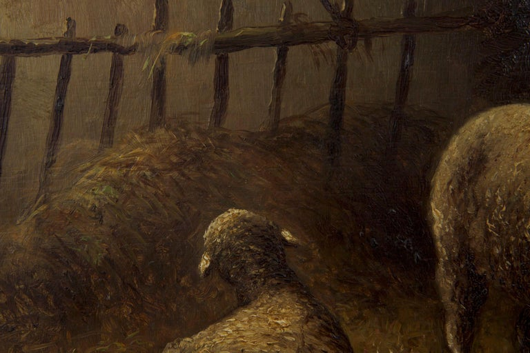 Charles Emile Jacque French Barbizon Antique Oil Painting of Sheep in Barn For Sale 6