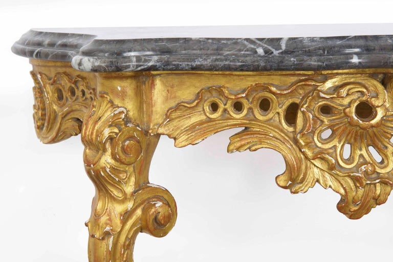 European 20th Century French Louis XV Style Marble Top & Carved Giltwood Console Table For Sale