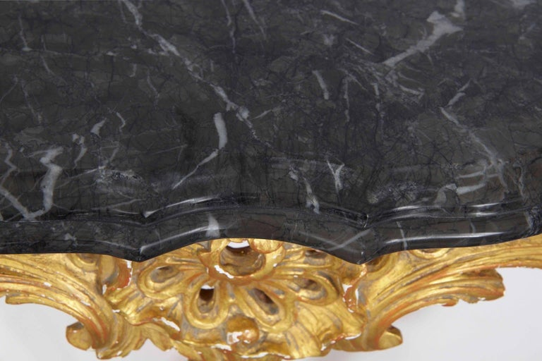 20th Century French Louis XV Style Marble Top & Carved Giltwood Console Table For Sale 3