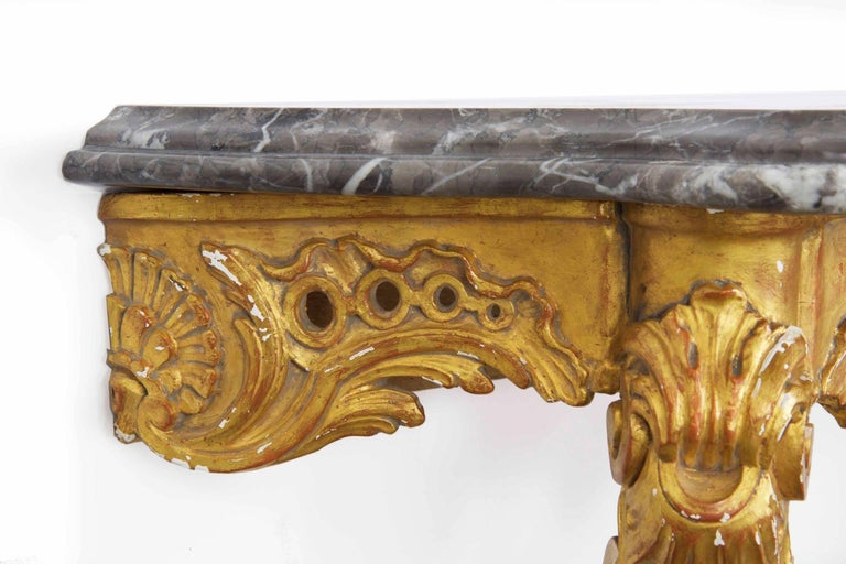 20th Century French Louis XV Style Marble Top & Carved Giltwood Console Table For Sale 11