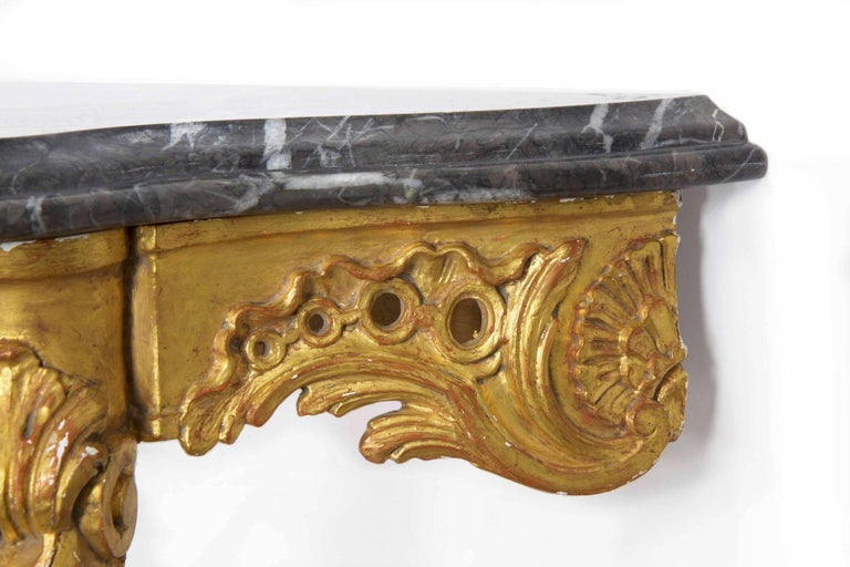 20th Century French Louis XV Style Marble Top & Carved Giltwood Console Table For Sale 12