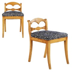 19th Century Biedermeier Style Pair of Lowback Fruitwood Antique Side Chairs