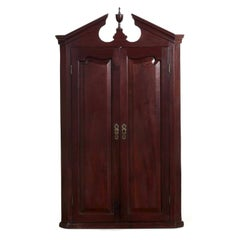 Georgian Mahogany Broken-Arch Hanging Antique Cupboard, England, 19th Century