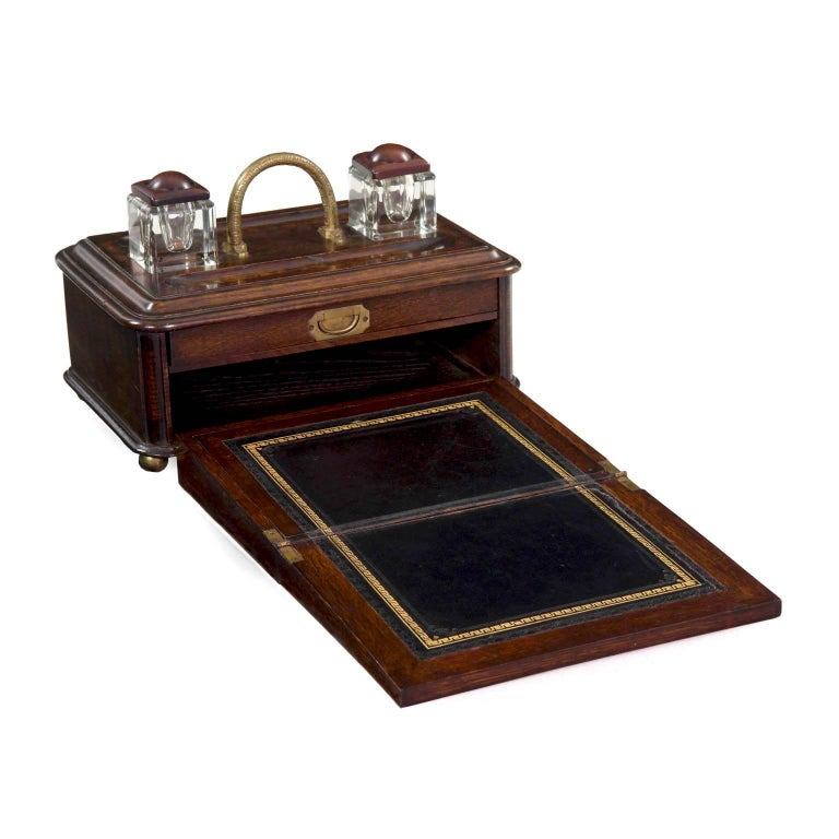 19th Century English Victorian Antique Oak Writing Desk Traveling Box For Sale