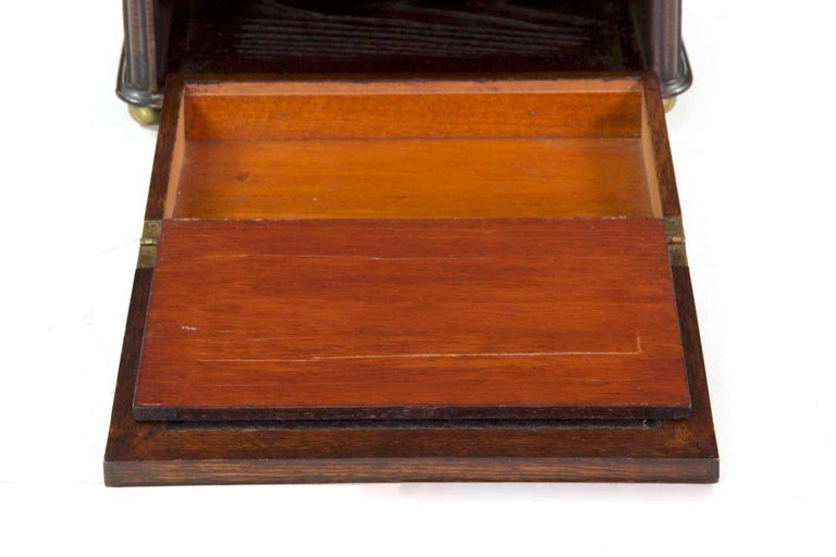 Glass 19th Century English Victorian Antique Oak Writing Desk Traveling Box For Sale