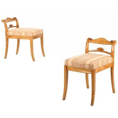 Biedermeier Style Pair of Low Back Birch Antique Side Chairs, Early 20th Century
