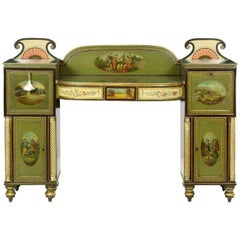 English George IV Green Painted Antique Pedestal Sideboard Console, circa 1825