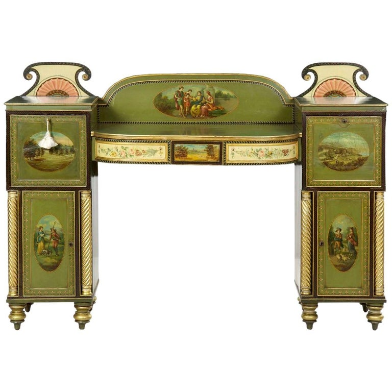 English George IV Green Painted Antique Pedestal Sideboard Console, circa 1825 For Sale