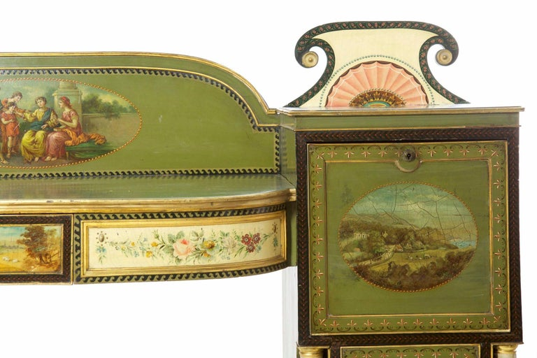 Hand-Painted English George IV Green Painted Antique Pedestal Sideboard Console, circa 1825 For Sale