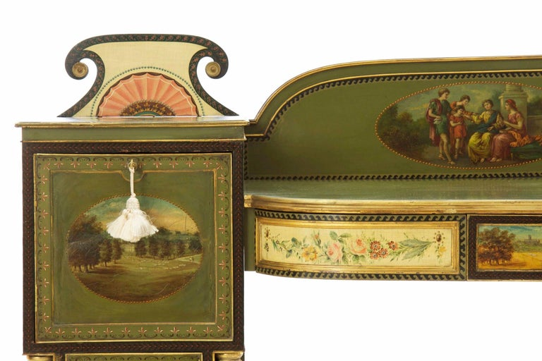 English George IV Green Painted Antique Pedestal Sideboard Console, circa 1825 In Good Condition For Sale In Shippensburg, PA