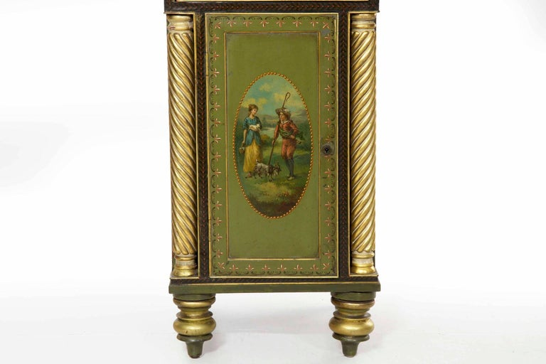 Early 19th Century English George IV Green Painted Antique Pedestal Sideboard Console, circa 1825 For Sale