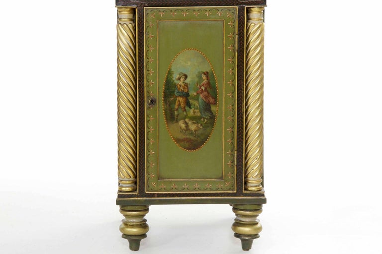 Wood English George IV Green Painted Antique Pedestal Sideboard Console, circa 1825 For Sale